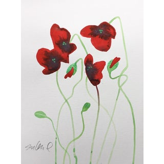 Red Poppies D, Original Watercolor For Sale