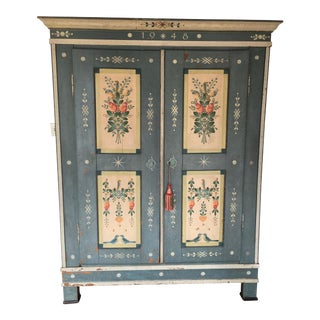 Vintage Swedish Hand Painted Armoire For Sale