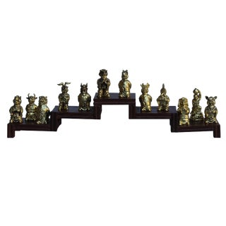 Set of 12 Chinese Animal Zodiac Metal Miniature Figures For Sale