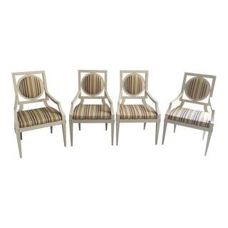 Vintage Baker Furniture Company Wood Framed Armchairs- Set of 4 For Sale