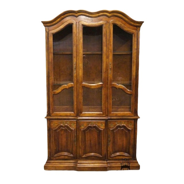 20th Century French Country Stanley Furniture Fleur De Bois China Cabinet For Sale
