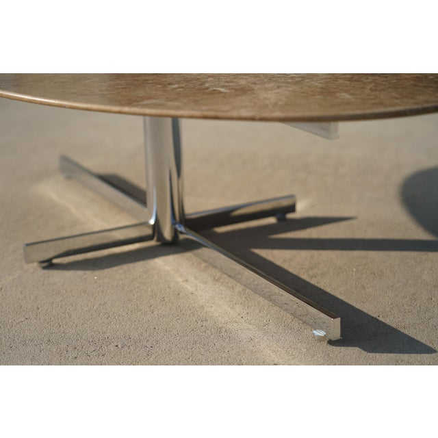 1960s 1960s Knoll Style Marble Elliptical Oval Coffee Table For Sale - Image 5 of 8