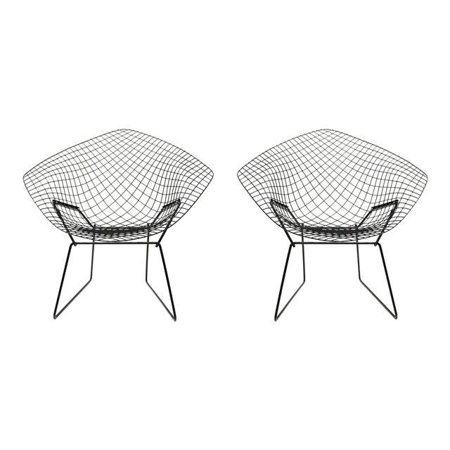 Harry Bertoia Diamond Black Chairs - A Pair - Image 1 of 5