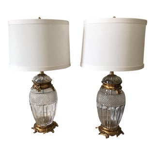 Cut Crystal & Gilt Brass Table Lamps - A Pair For Sale