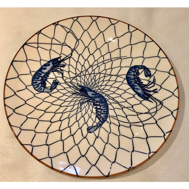 Beautiful hand painted Japanese blue and white with shrimp motif platter. Japanese markings on underside.