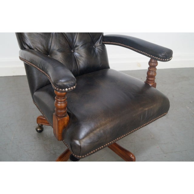 Tufted Leather Executive Office Arm Chair - Image 6 of 8