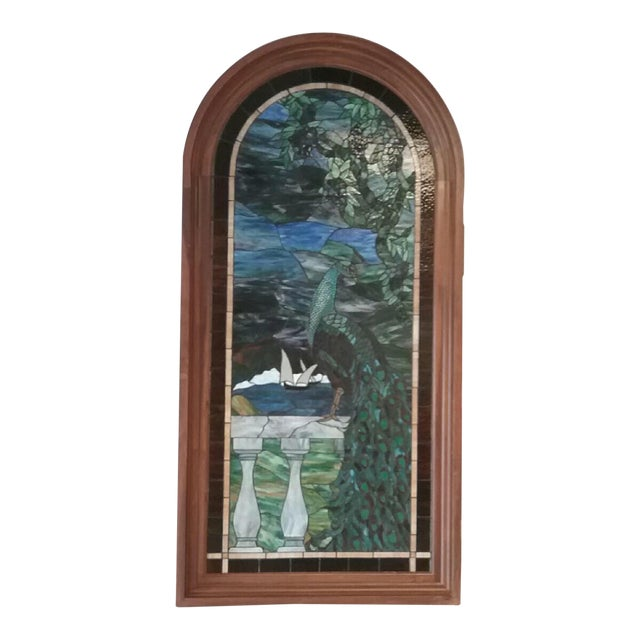 Peacock Stained Glass Arch Window For Sale