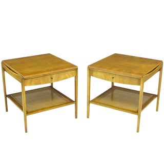 Pair Widdicomb Bleached Walnut & Cane Single Drawer End Tables For Sale