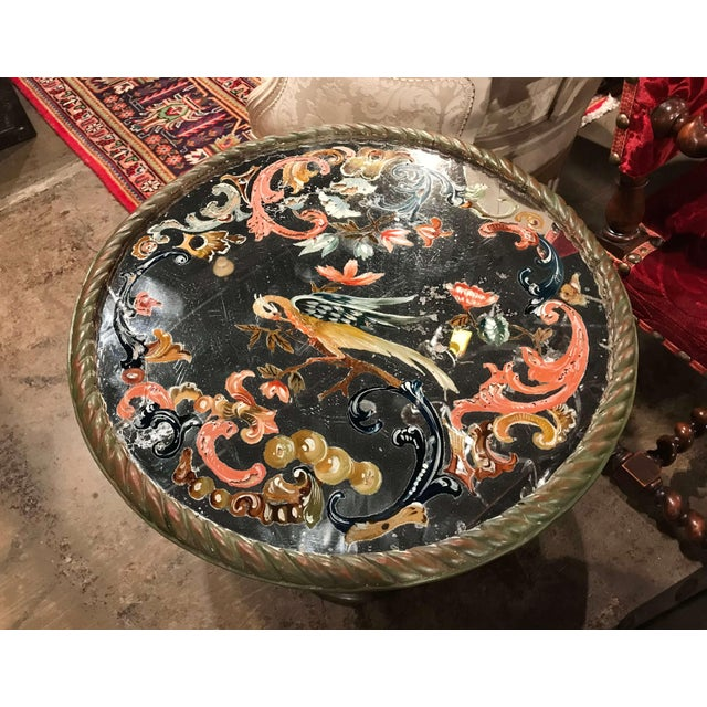 19th Century Italian Carved Giltwood and Painted Side Table With Eglomise Top For Sale In Dallas - Image 6 of 8