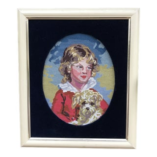 Precious Petite Hand Made Needlepoint Art Piece of a Golden Haired Boy and His Dog For Sale