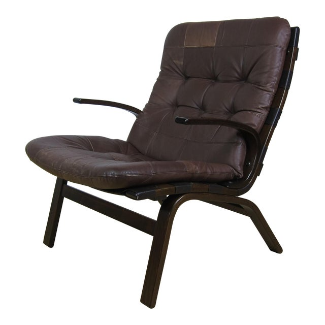 Scandinavian Brown Leather Lounge Chair For Sale