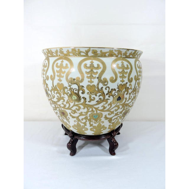 Vintage Porcelain Oriental Hand Painted Gilt Goldfish Bowl - Planter For Sale - Image 9 of 10