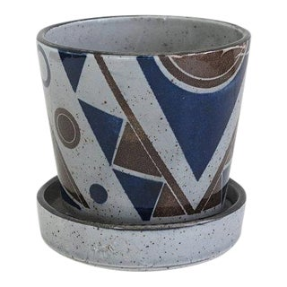 Mid Century Japanese Art Deco Transferware Ceramic Planter Pot For Sale
