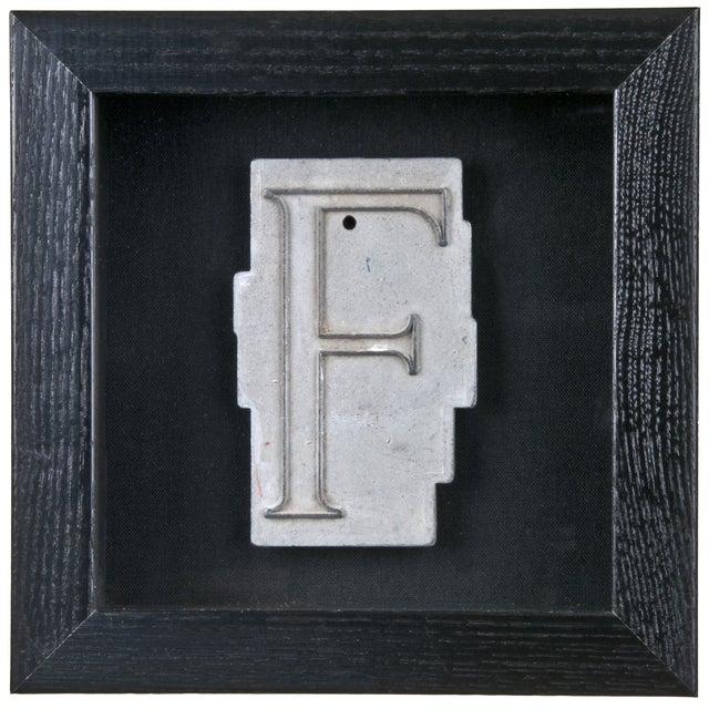 Framed Mid Century Spacerite Steel Letter F For Sale