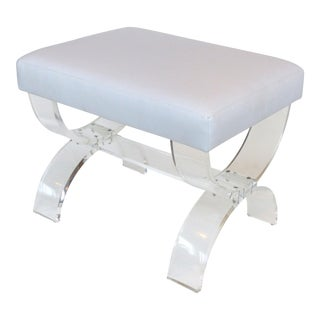 Modern Custom Made Lucite X-Form Upholstered Bench For Sale