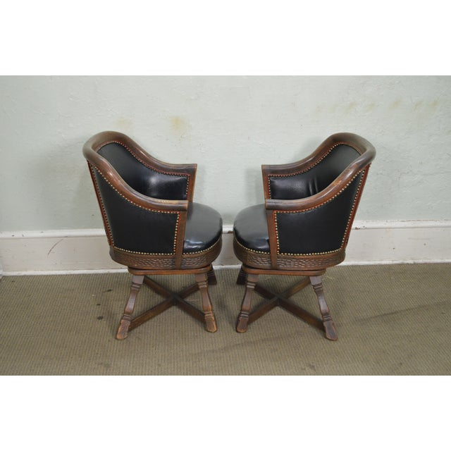 Romweber Viking Oak Set of 4 Swivel Club Chairs For Sale - Image 9 of 11