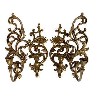 2 Pairs of Gold Syrocco Floral Wall Candle Sconces - 4 Piece