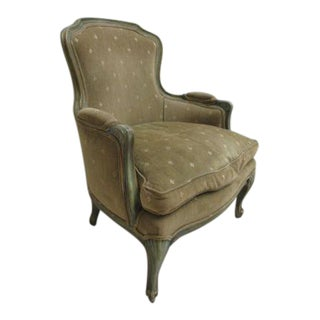 1970s French Distressed Fireside Lounge Chair