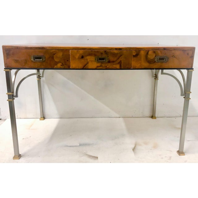 Campaign Style Italian Burlwood Desk and Chair For Sale - Image 4 of 9