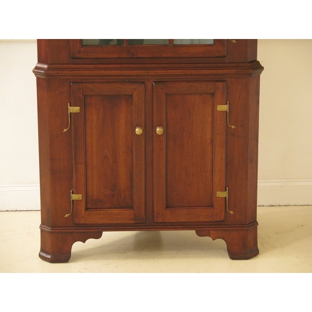 1970s Chippendale Walnut Corner Cabinets - a Pair For Sale - Image 4 of 13