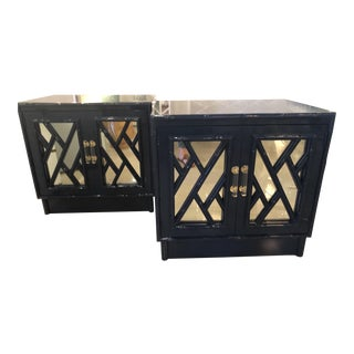Vintage Chinese Chippendale Navy Lacquered Mirror Lucite Brass Nightstands Chests -A Pair For Sale