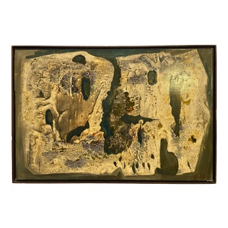 Circa 1950s Abstract Expressionist Style Painting, Framed For Sale