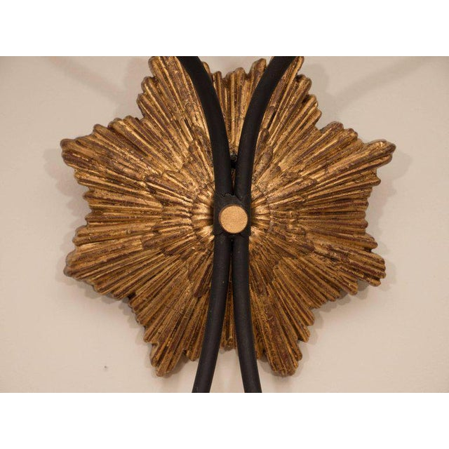 Pair of Gilt Iron Sconces For Sale - Image 4 of 8