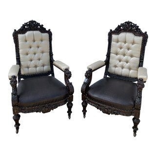 Mid 19th Century Rosewood Carved Parlor Chairs- A Pair For Sale