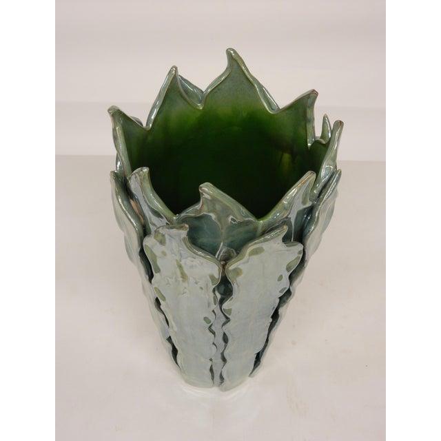 Beautiful glazed green contemporary Italian long leaf design vase.
