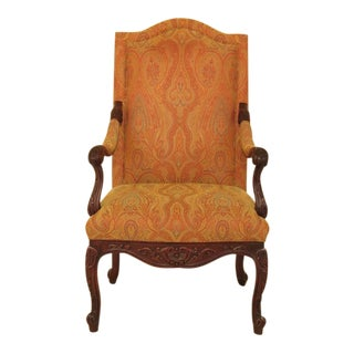 Hancock & Moore Carved Mahogany Upholstered Arm Chair For Sale