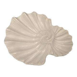 White Loucarte Portugal Pottery Shell Dish Serving Platter Ashtray Trinket Dish Beach Nautical For Sale