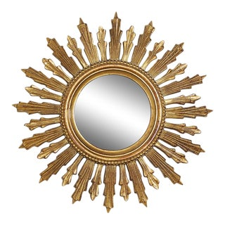 Mid-Century Round Gilt Starburst Mirror For Sale