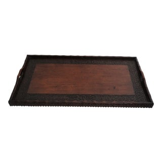 Large Carved Mahogany Serving Tray For Sale
