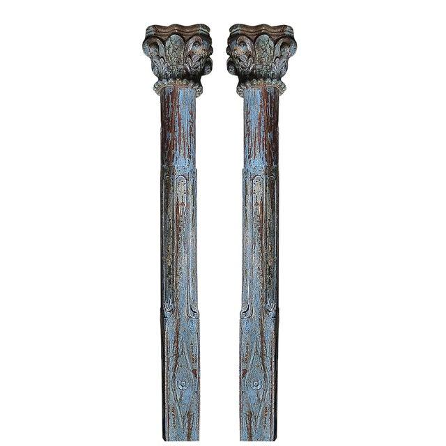 Blue Scroll Column Pair - Image 1 of 3