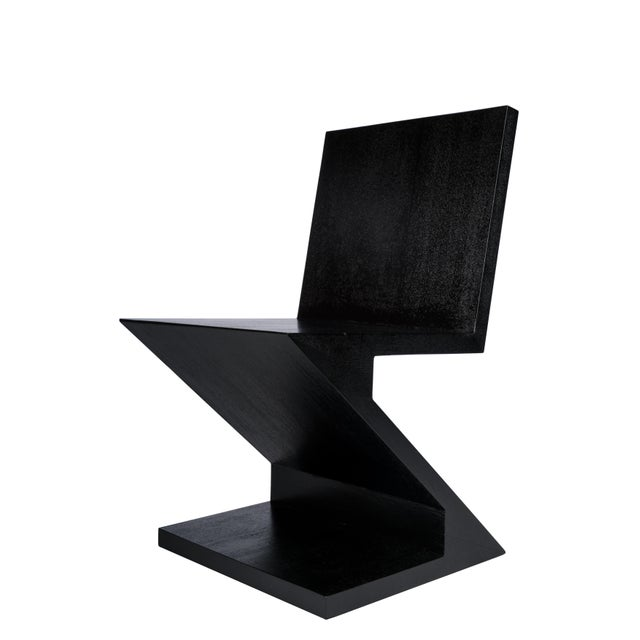2010s Zig Zag Accent Chair in Black For Sale - Image 5 of 5