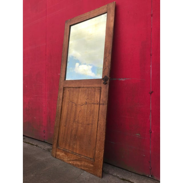 Antique Architectural Fragment Mercury Mirror Panel Inset & Hardware Wood Door For Sale - Image 4 of 12