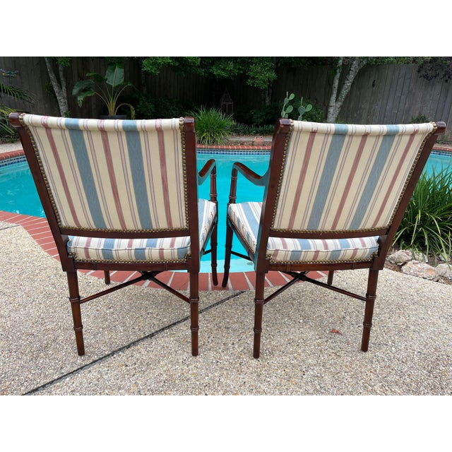 Wood Hancock & Moore Sheridan Style Mahogany Accent Chairs - a Pair For Sale - Image 7 of 10