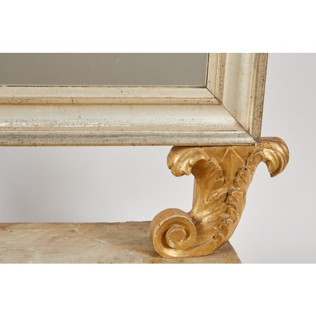 18th Century Italian Baroque Mirror with Faux Marble Base For Sale In Los Angeles - Image 6 of 9