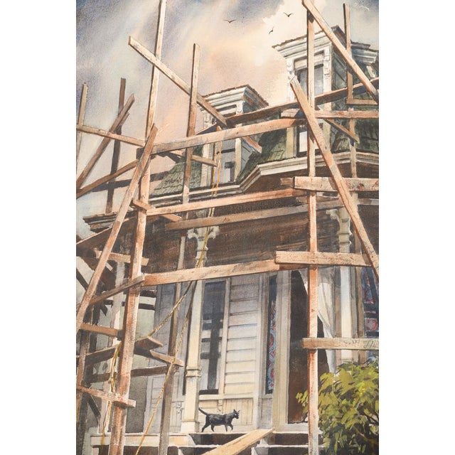 """Realism Vintage """"Victorian Home & Black Cat"""" Watercolor Painting For Sale - Image 3 of 8"""