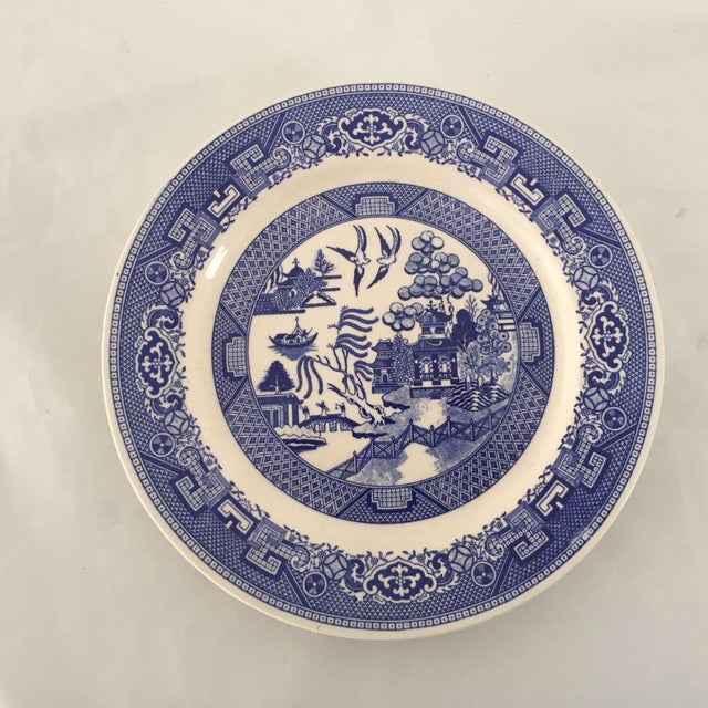 """Vintage Blue Willow, Set of Three Plates 9.25""""D, Makers mark reads """"Homer Laughlin Mase in USA J 61 N 4"""" One of the plate..."""
