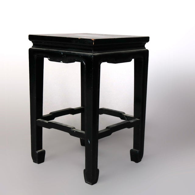 Wood Vintage Black Lacquered Chinese Side Stands, 20th Century - Set of 4 For Sale - Image 7 of 13