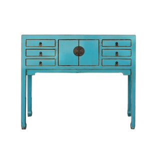 Chinese Oriental Rustic Blue Lacquer Drawers Slim Side Table For Sale