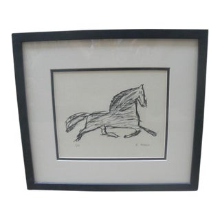 Framed Abstract Thoroughbred Sketch, Signed B. Meade, 3/5 For Sale