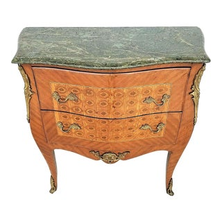 French Louis XV Style Mahogany Marble Commode Bombay Chest With Gilt Bronze Mounts For Sale