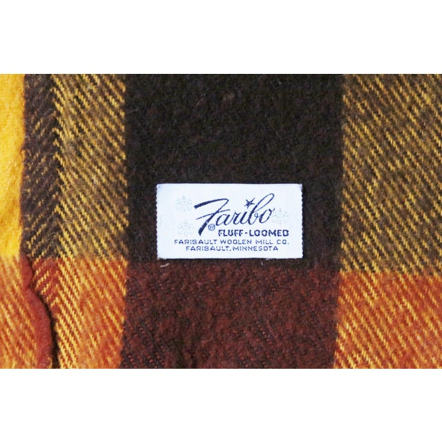 Vintage Faribo Yellow, Orange & Brown Plaid Wool Blanket - Image 3 of 3