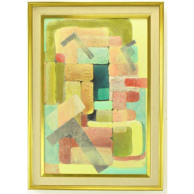 Brightly colored cubist inspired mixed media painting with relief impasto mixed with a sand like element. Framed in a gilt...