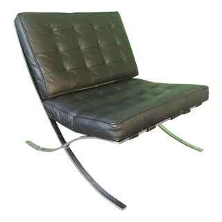 Black Leather Barcelona Chair After Ludwig Mies Van Der Rohe For Sale