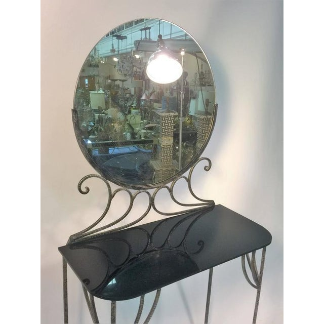 Brandt BEAUTIFUL ART DECO WROUGHT IRON VANITY AND CHAIR BY FERRO BRANDT For Sale - Image 4 of 11