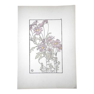 Antique Pochoir Art Nouveau Botanical Print-J. Foord-Decorative Flower Studies C.1904 For Sale