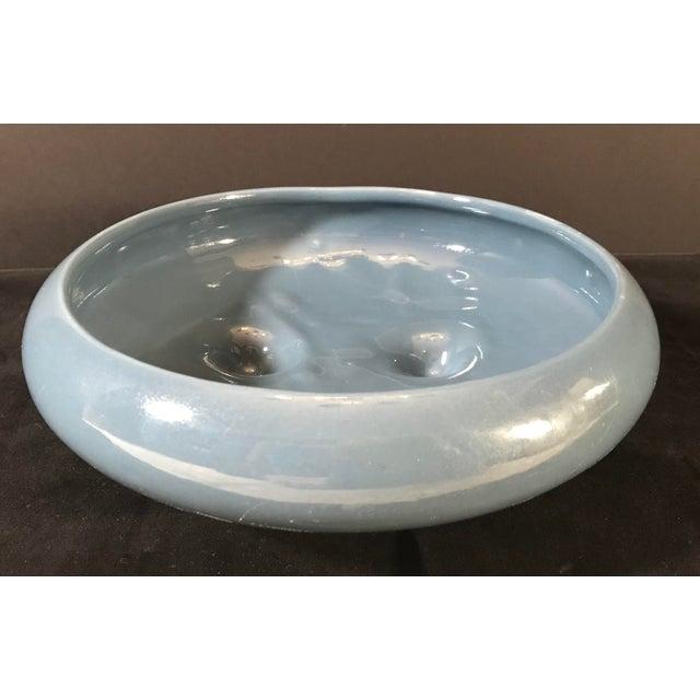 Mid-Century Ceramic Blue Grey Planter For Sale - Image 4 of 7